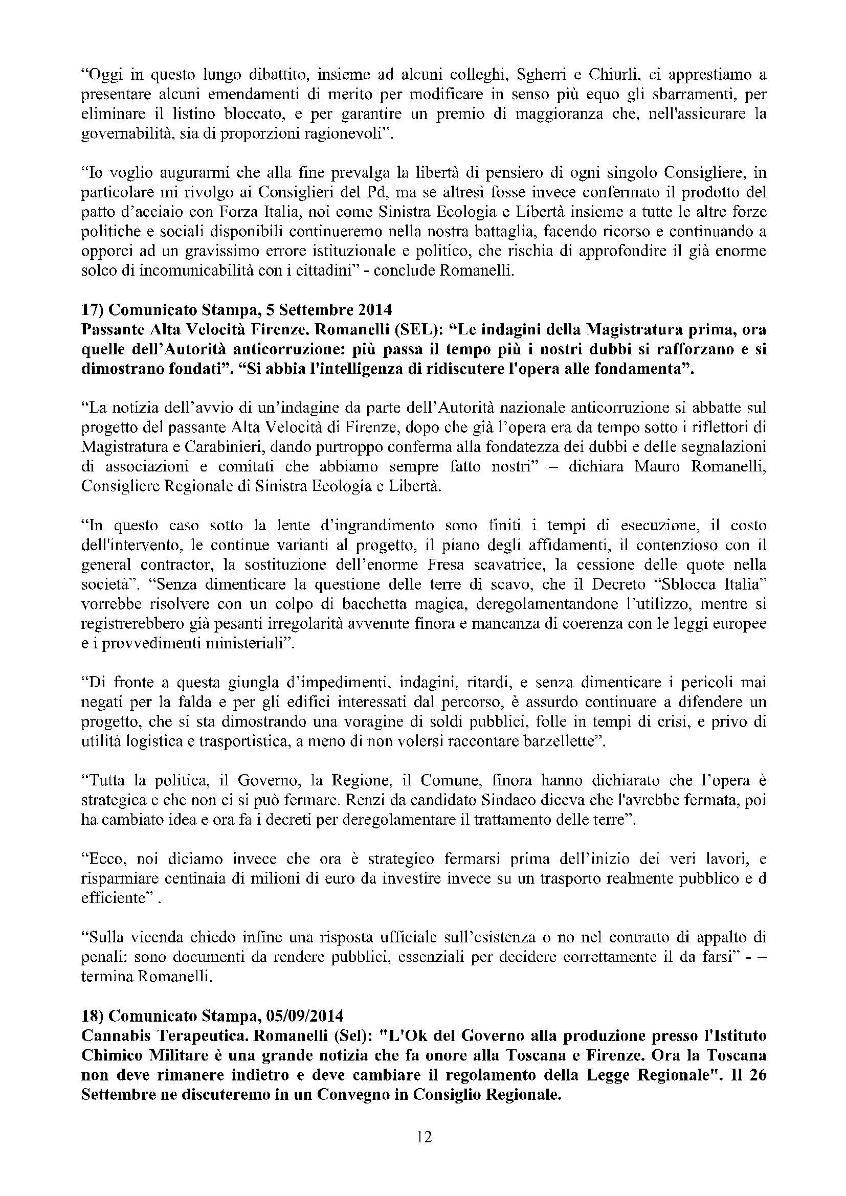 Newsletter di MAURO ROMANELLI Ottobre 2014 – 12