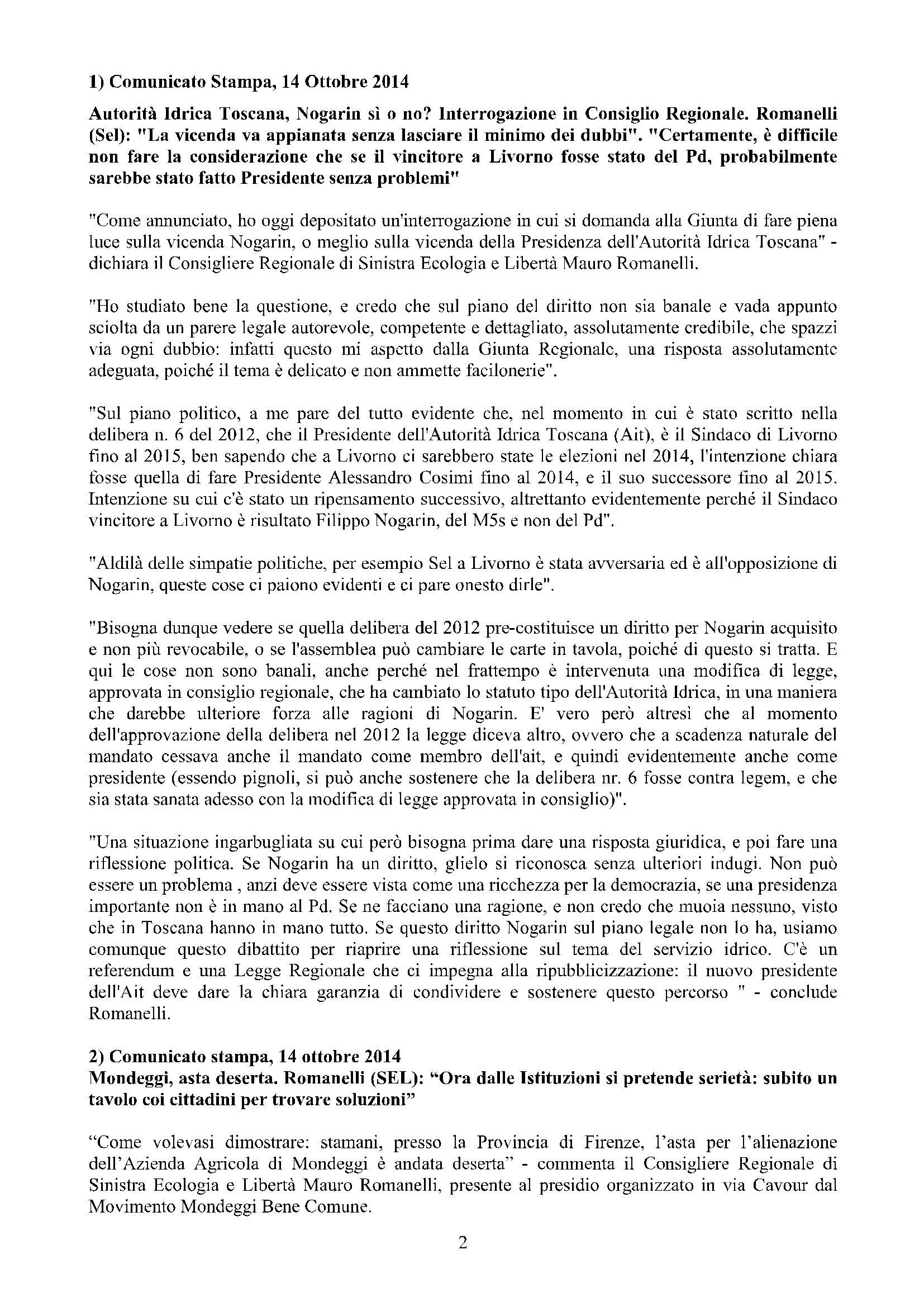 Newsletter di MAURO ROMANELLI Ottobre 2014 – 2