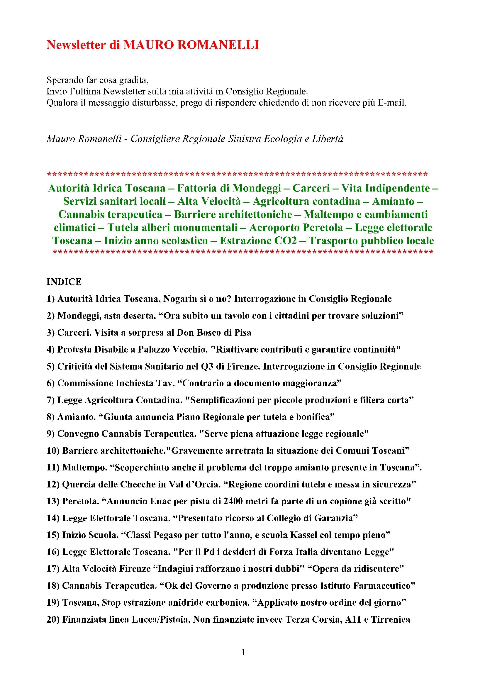 Newsletter di MAURO ROMANELLI Ottobre 2014