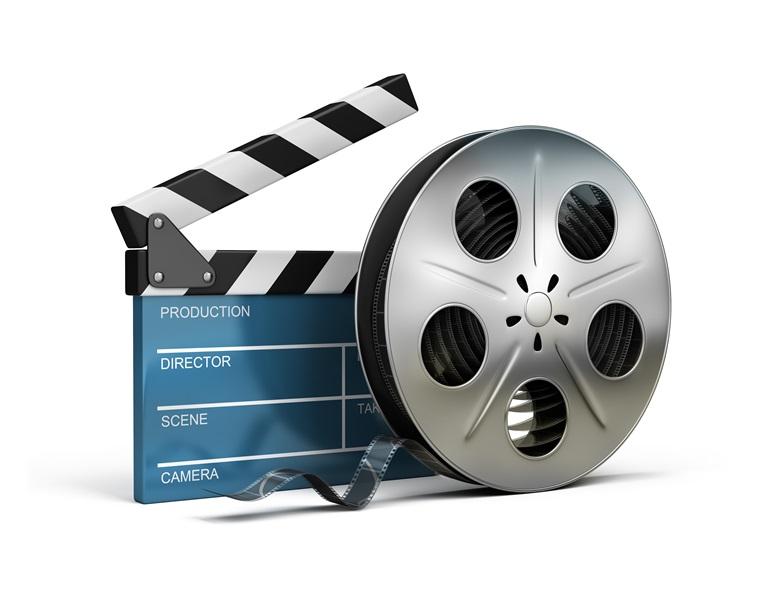cinema clapper and film tape