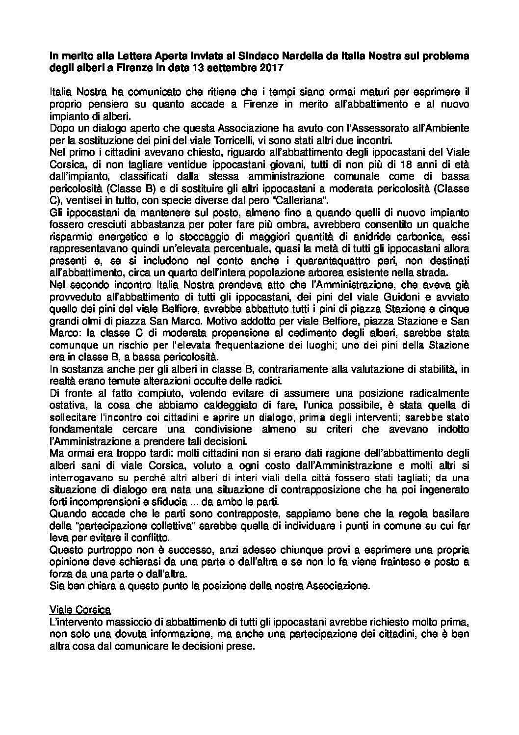 Lettera Italia Nostra